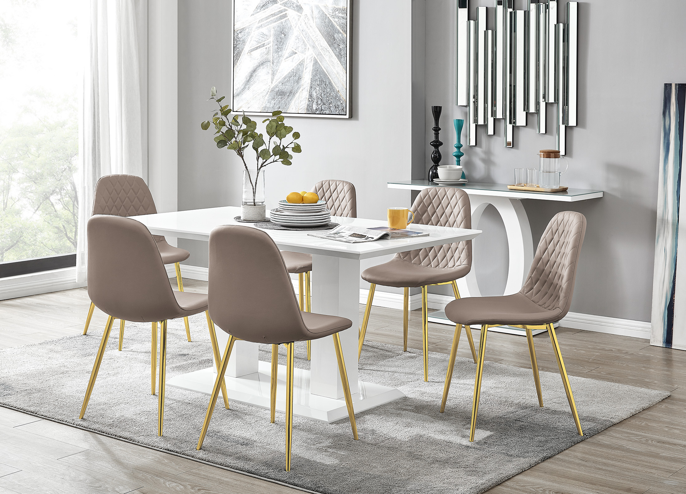 Imperia White Gloss Dining Table 6, White And Gold Dining Room Set