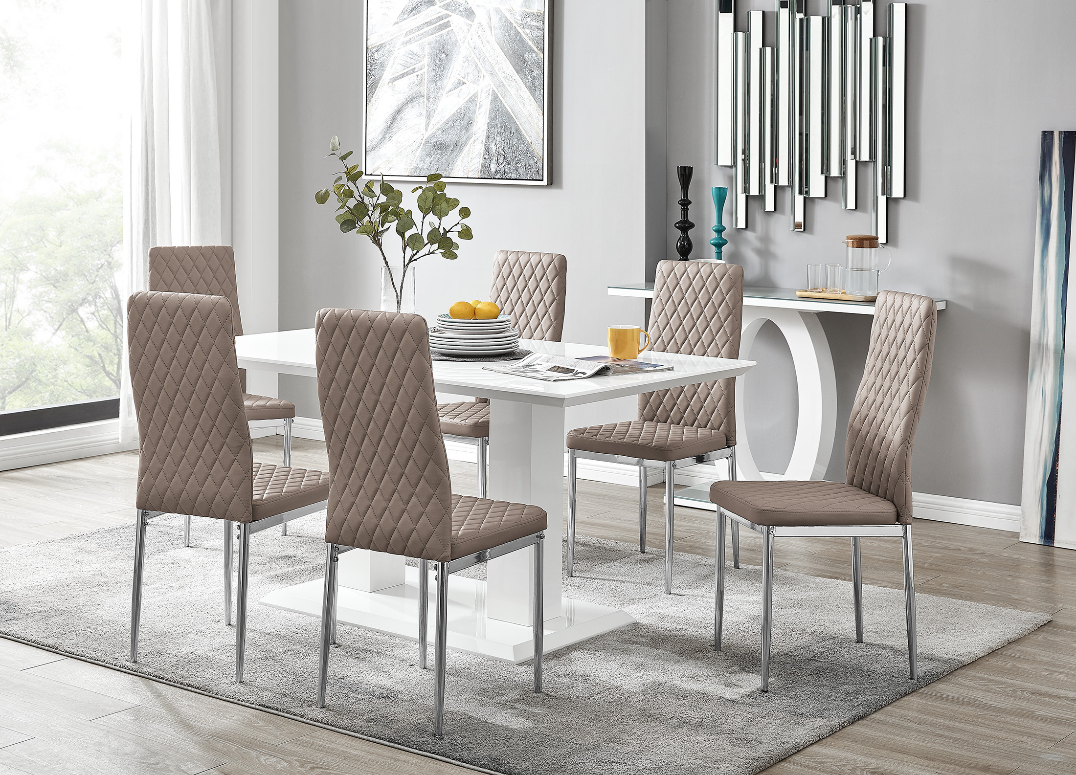 Gloss Dining Table 6 Milan Chairs, High Quality Dining Room Sets