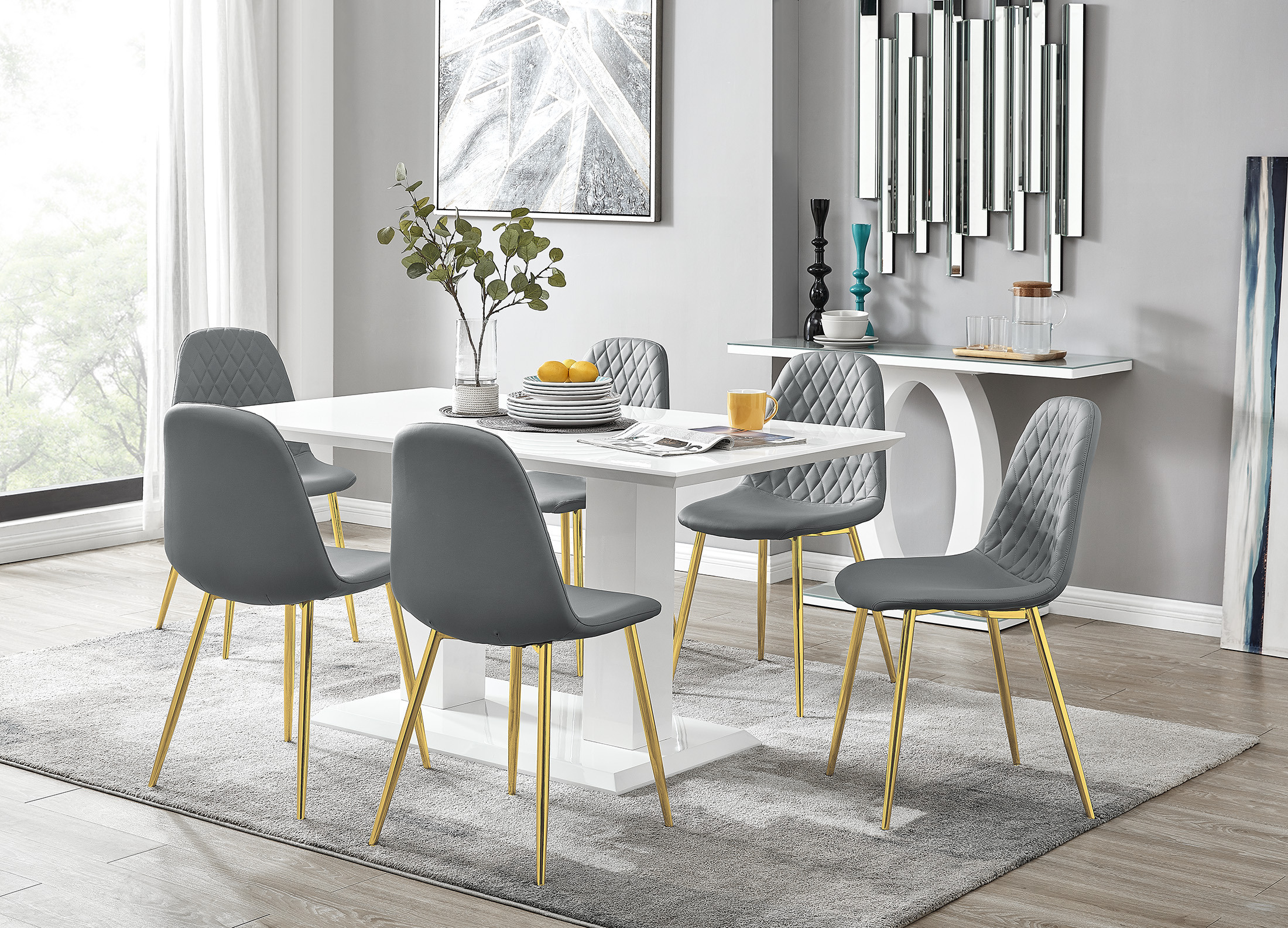Imperia White Gloss Dining Table 6, Gold Dining Room Sets