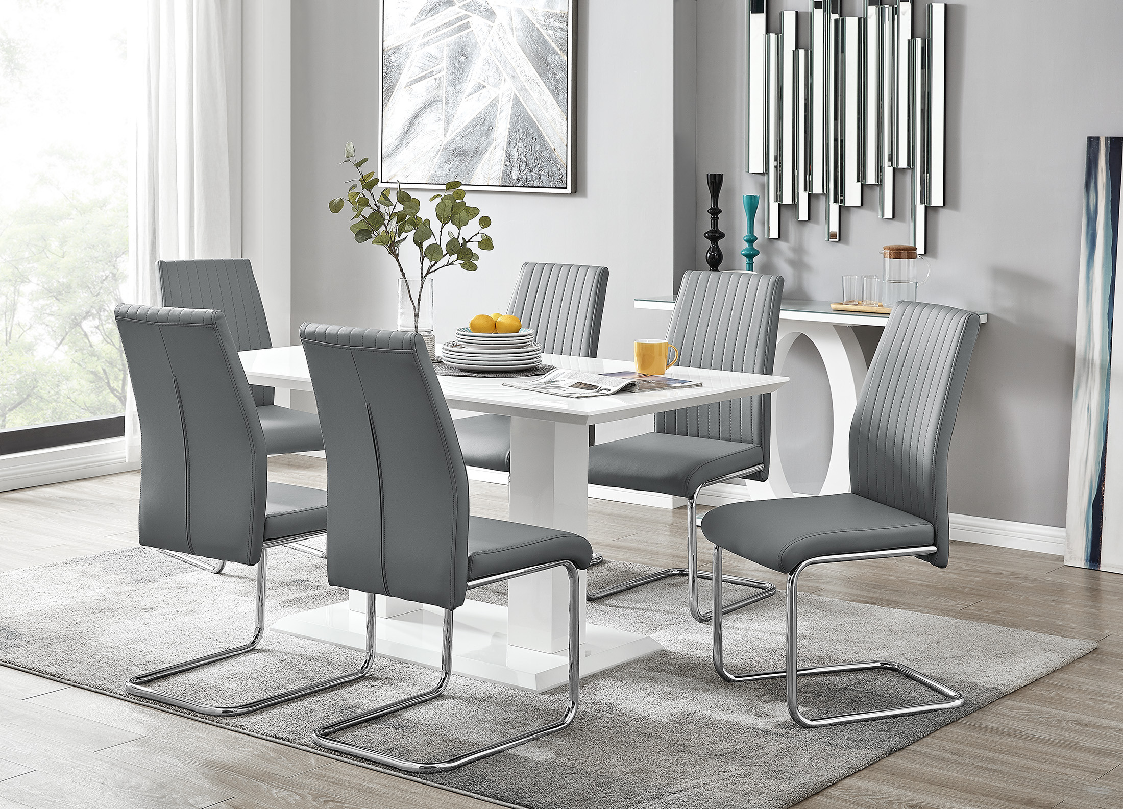 Imperia White High Gloss Dining Table And 9 Lorenzo Dining Chairs Set
