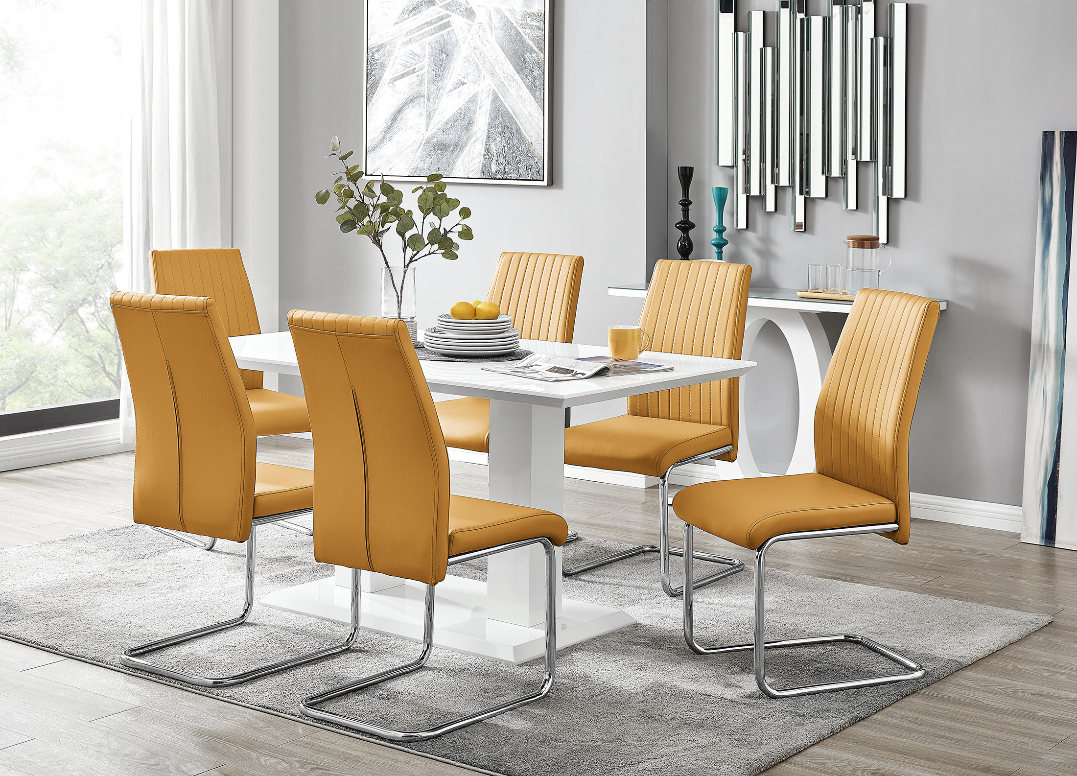 Gloss Dining Table 6 Lorenzo Chairs, Dining Room Chairs Uk