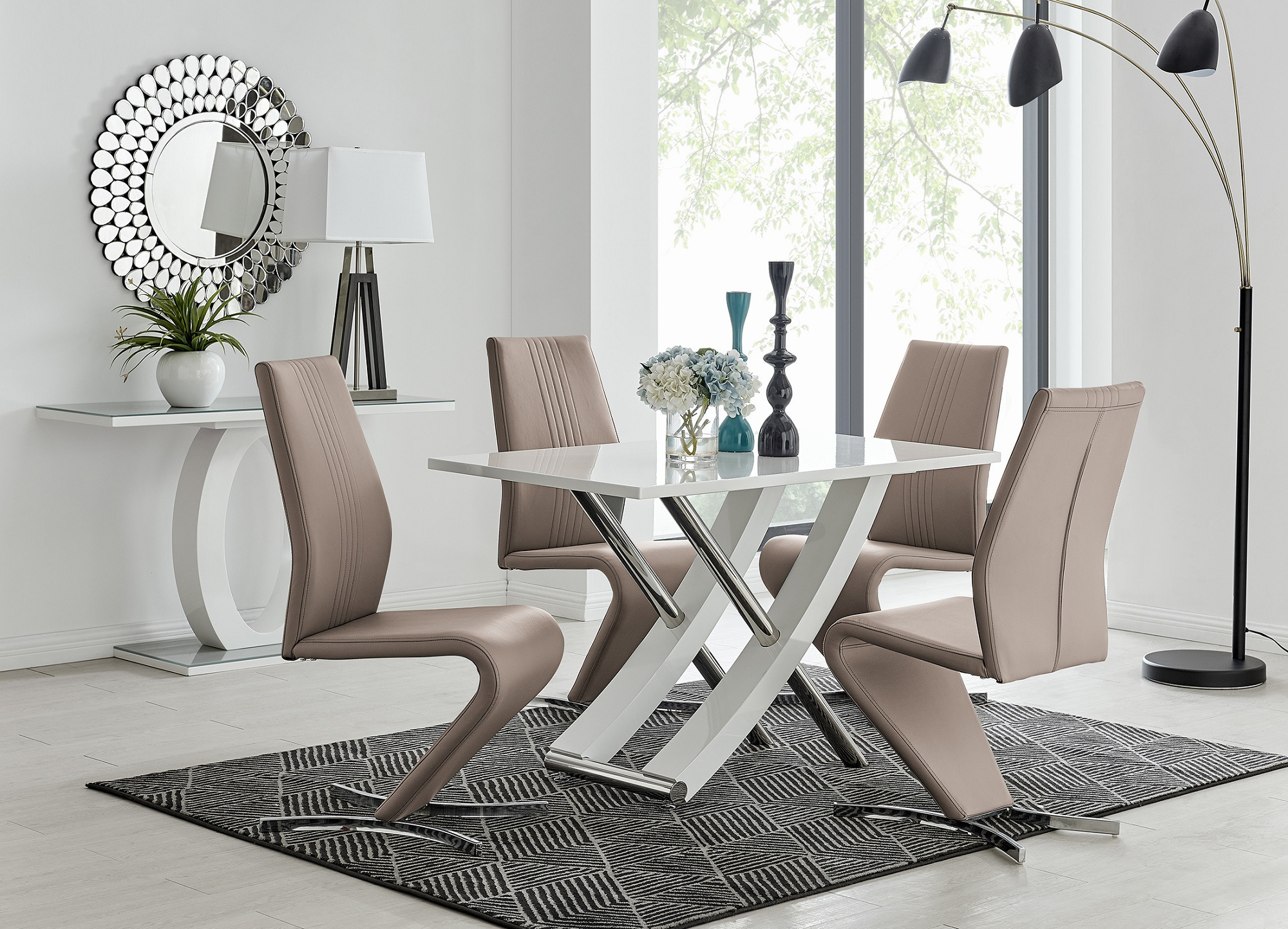 White Gloss Steel Dining Table 4 Willow Chairs Furniturebox