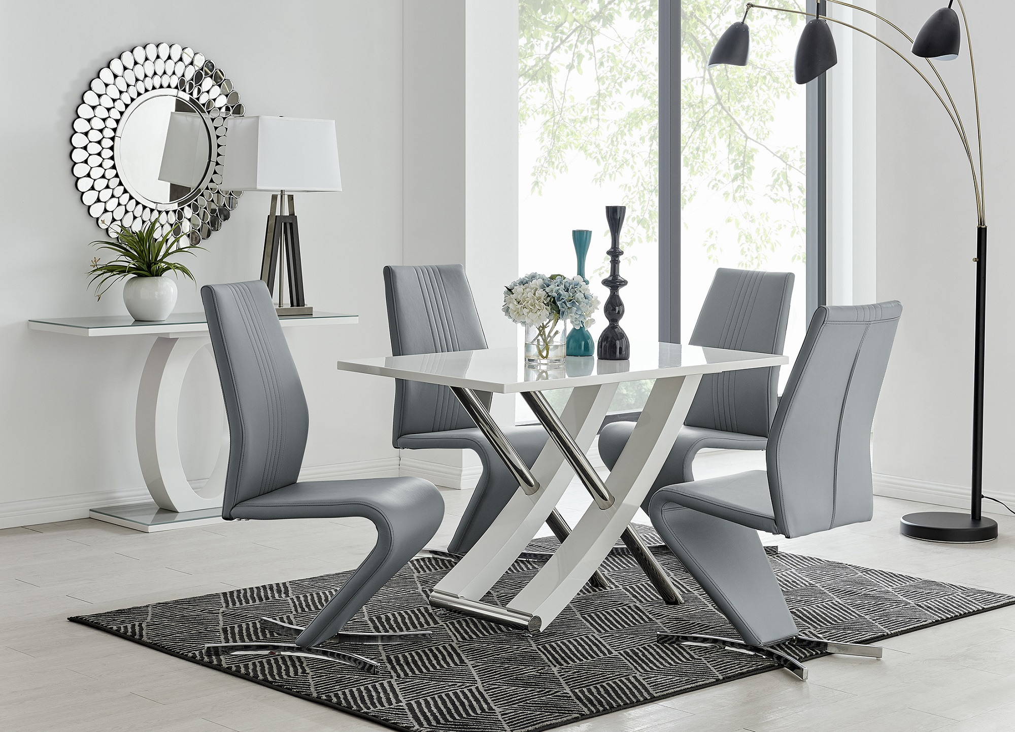 Mayfair 9 White High Gloss And Stainless Steel Dining Table And 9 Luxury  Willow Chairs Set