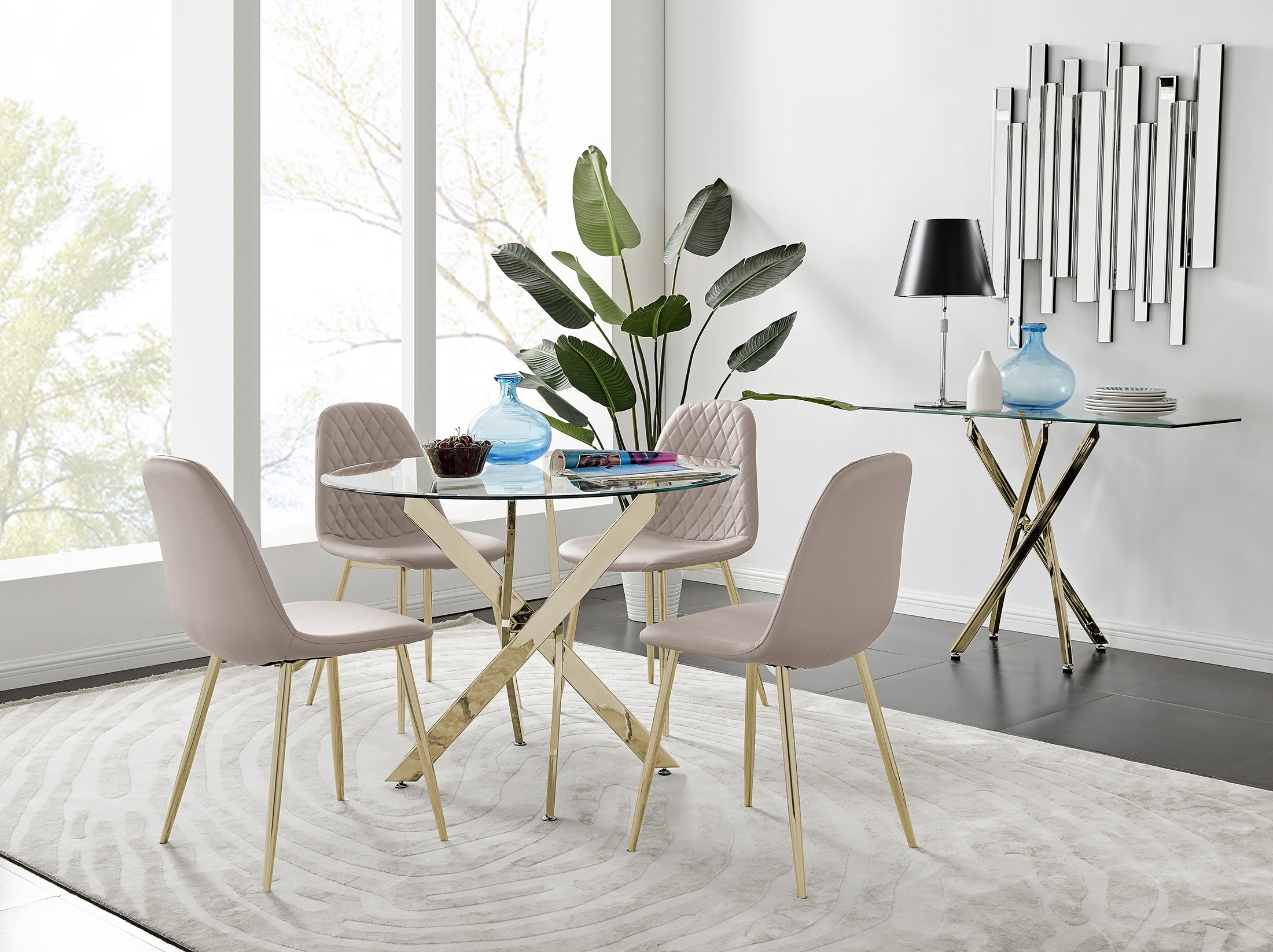 Gold Metal Dining Table 4 Leg, Gold Dining Room Sets