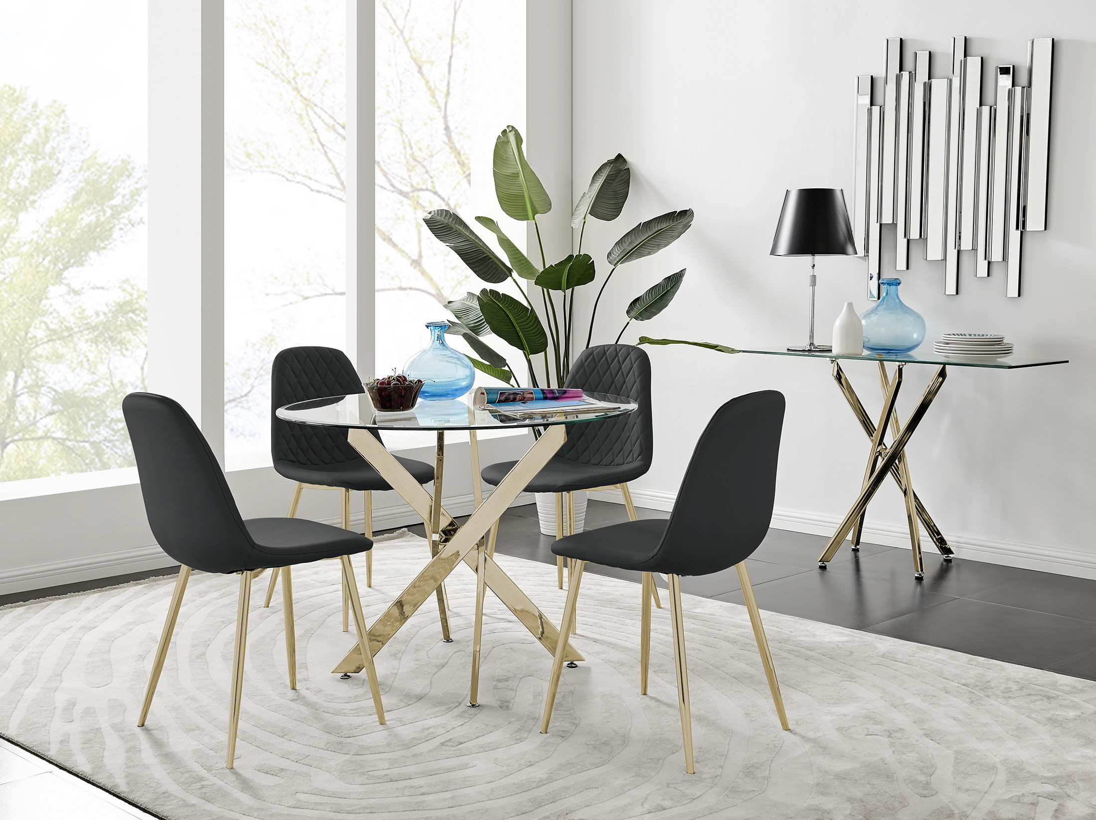 Dining Table 4 Gold Leg Chairs, Round Kitchen Tables And Chairs Uk