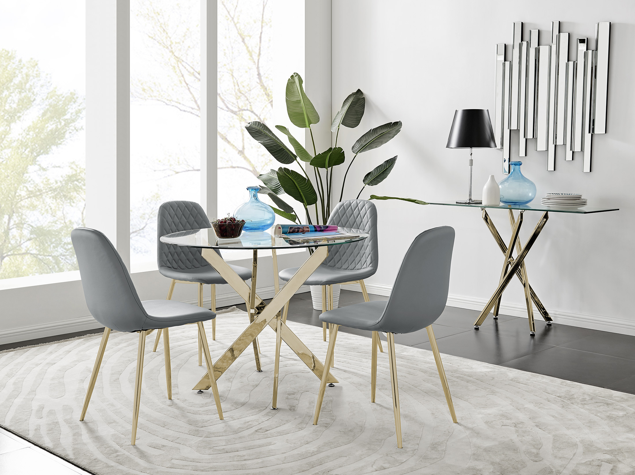 Novara Gold Metal 9cm Round Glass Dining Table And 9 Corona Gold Dining  Chairs