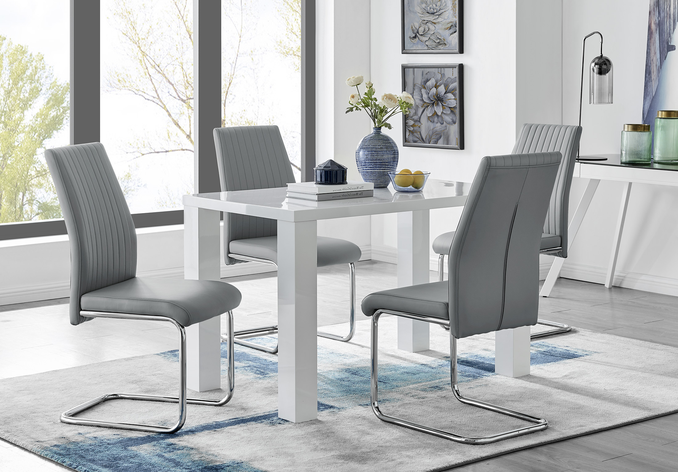Pivero White High Gloss Dining Table And 9 Lorenzo Chairs Set