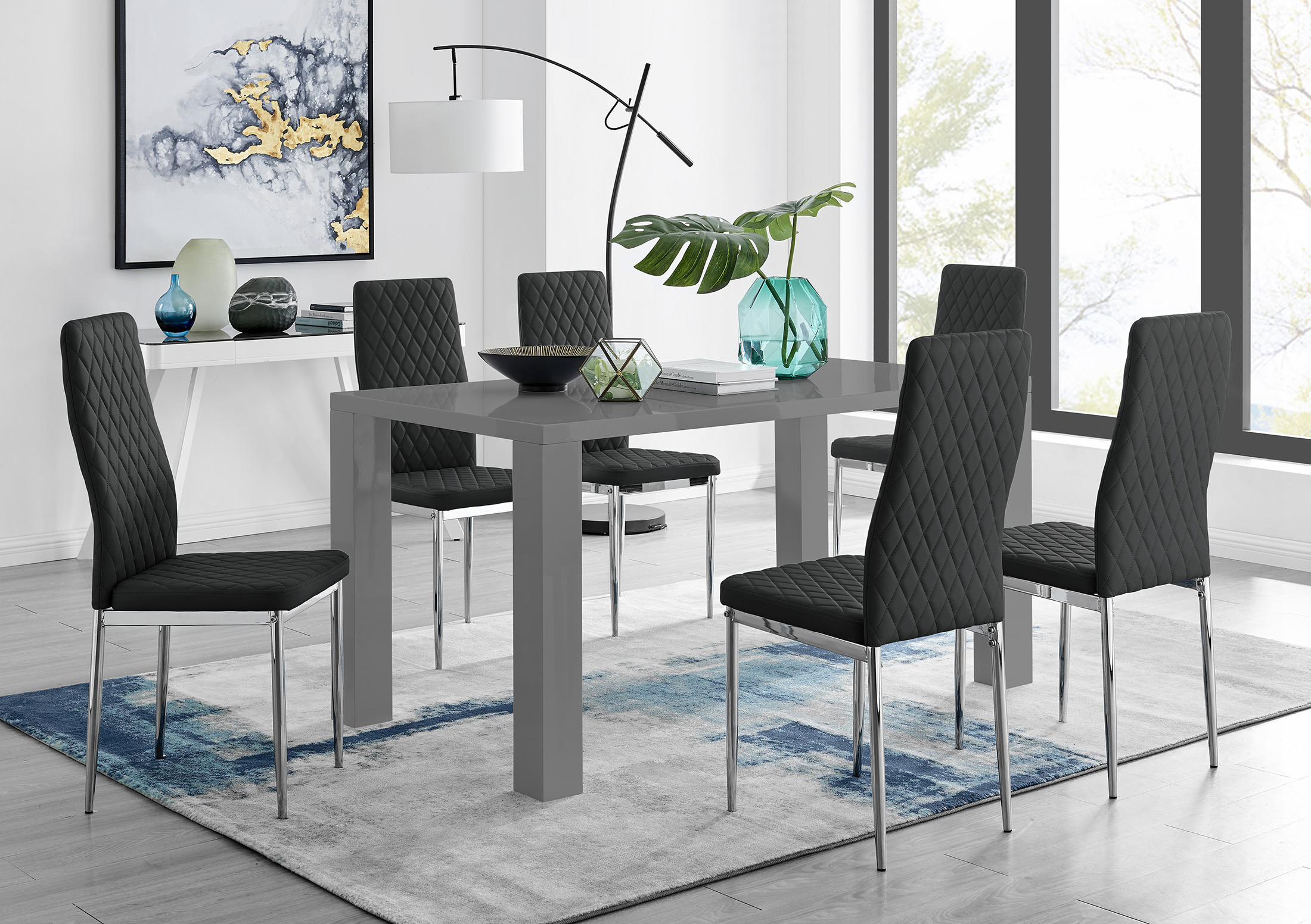Grey High Gloss Dining Table 6 Milan, Cute Dining Room Chairs