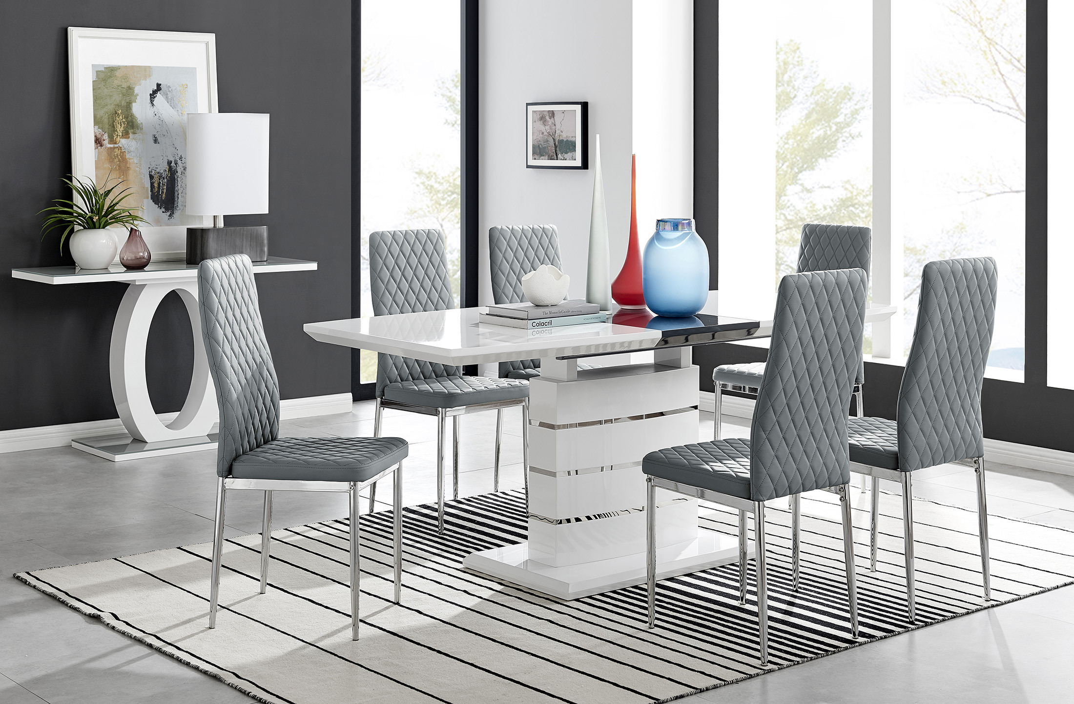 White Gloss Extending Dining Table 6, A Dining Room Table With 6 Chairs