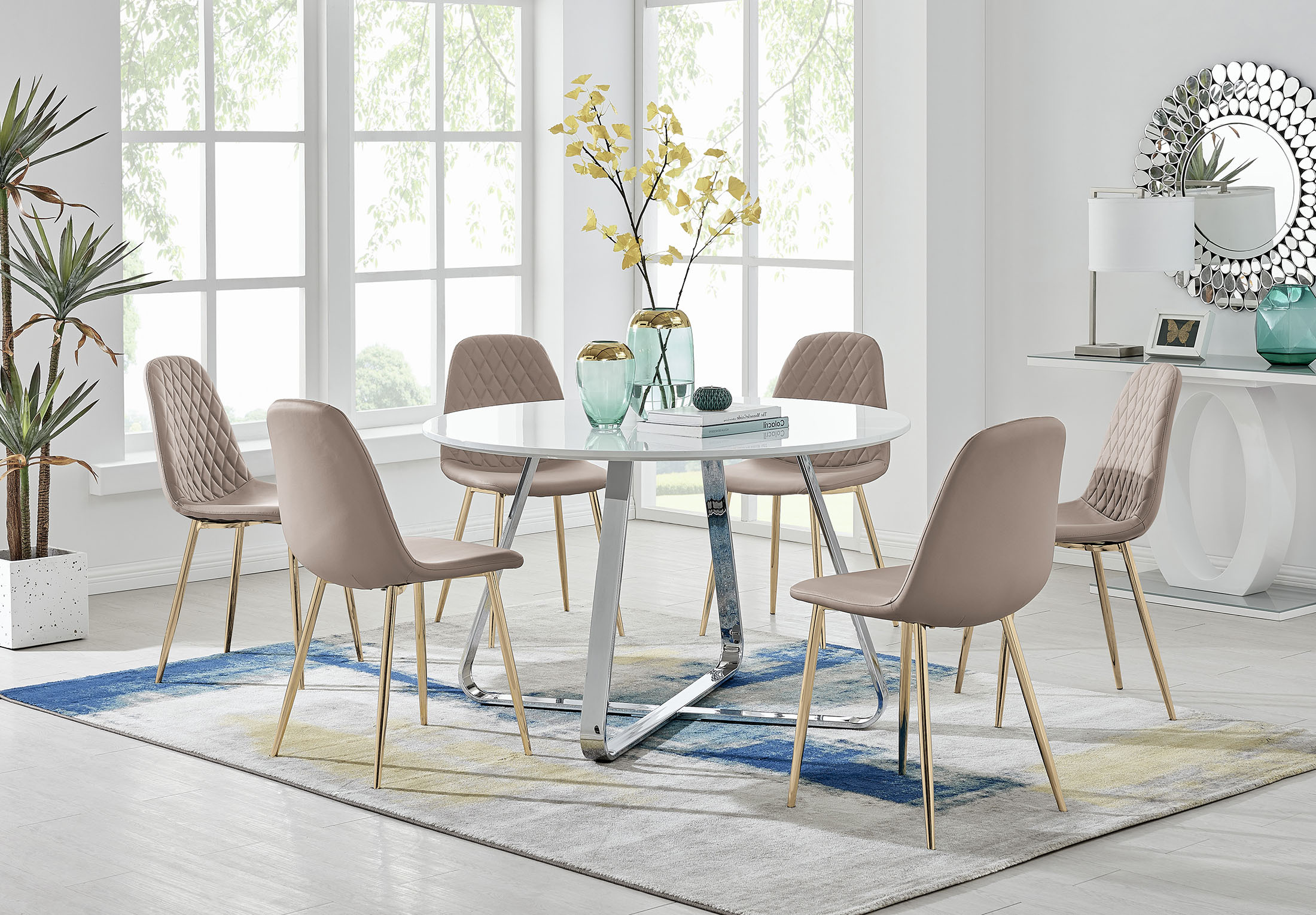 Santorini White Round Dining Table And 9 Corona Gold Leg Chairs