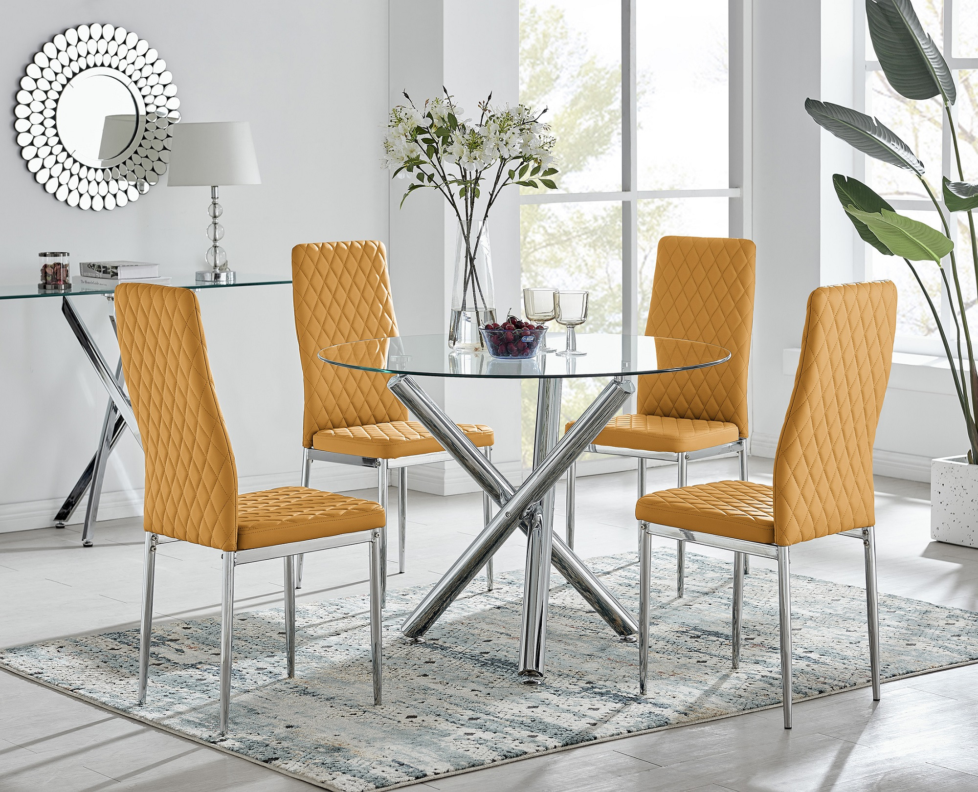 Selina Chrome Round Glass Dining Table and 9 Milan Dining Chairs