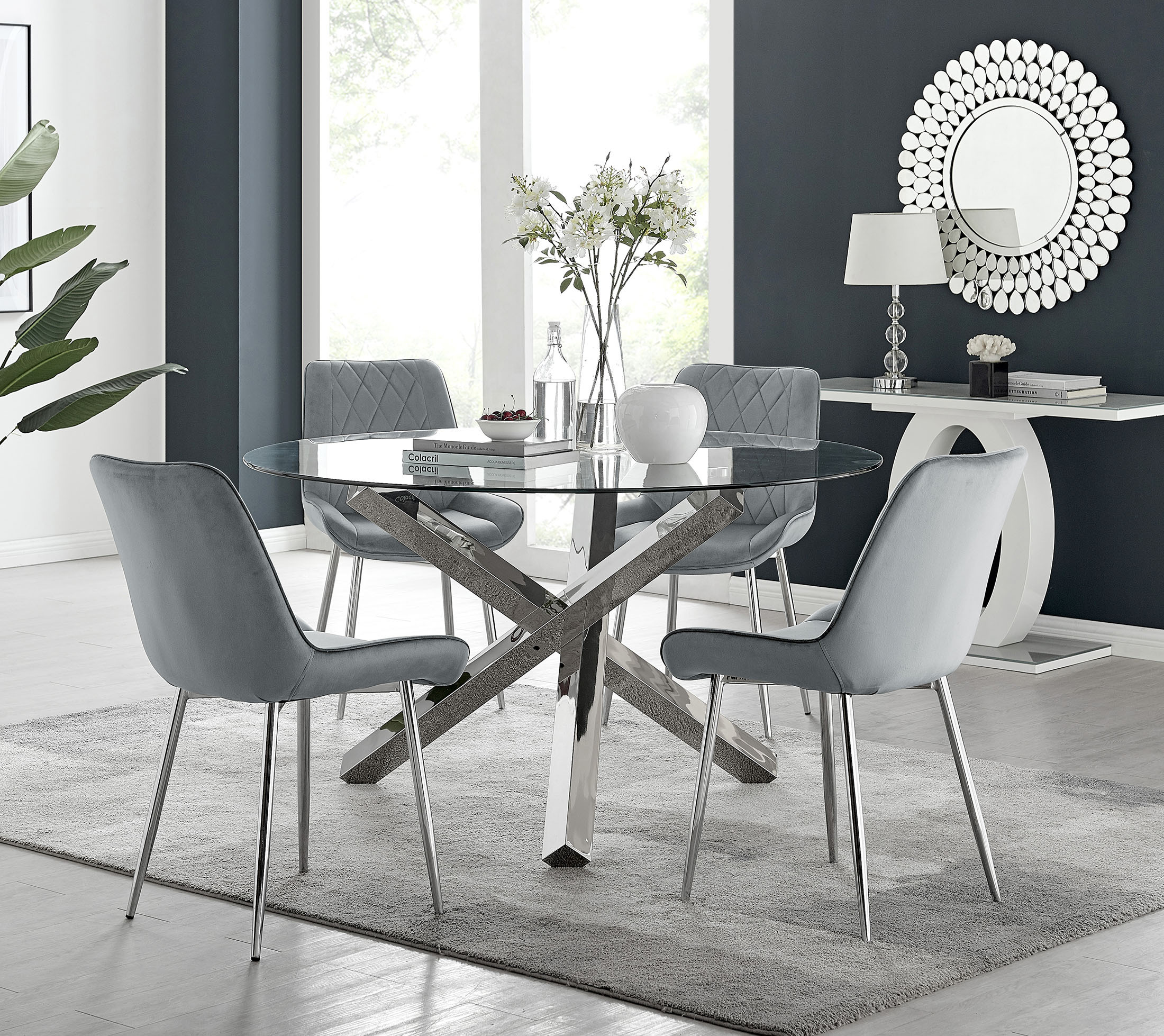 Vogue Round Dining Table And 6 Pesaro Silver Leg Chairs Furniturebox