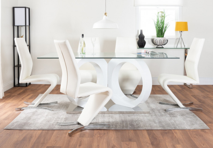 Modica Large Halo High Gloss And Glass Dining Table And 6 Willow Chairs Set