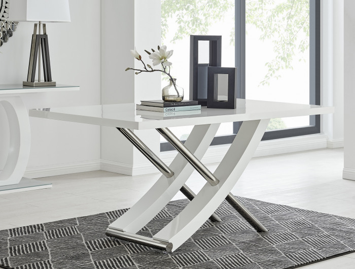 Mayfair Large White High Gloss And Stainless Steel Dining Table