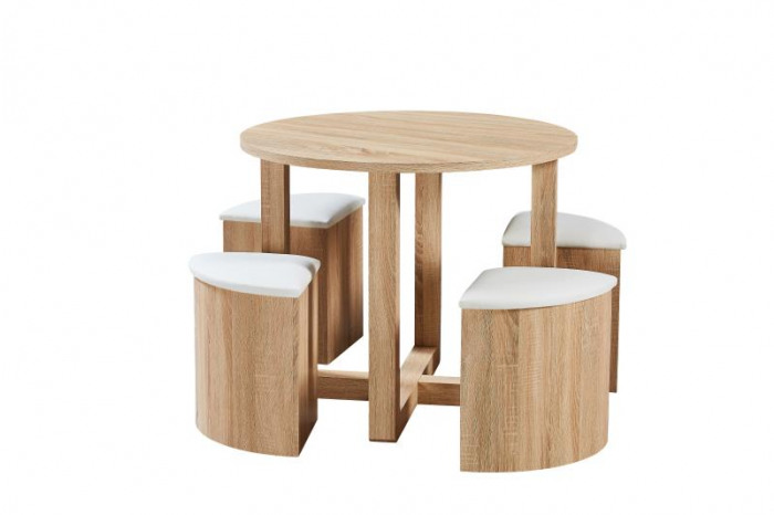 Oxford Space Saving Wooden Dining Table And 4 White Chairs Set