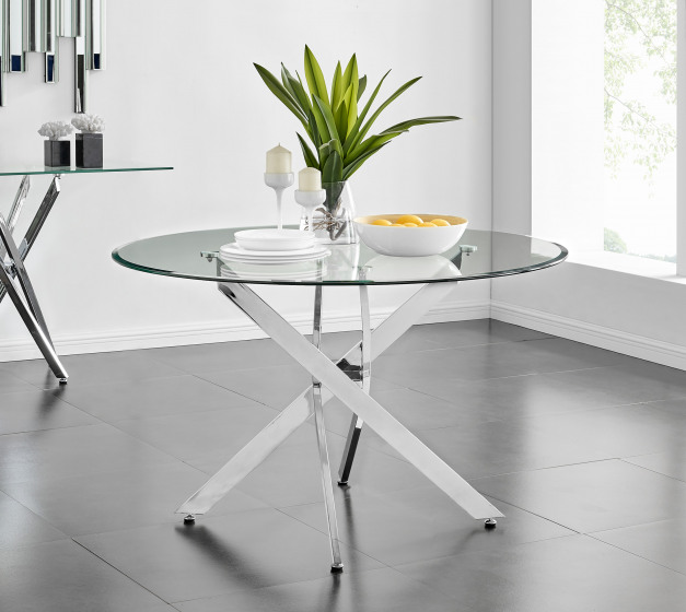 Novara Chrome Metal And Glass Large 120cm Round Dining Table