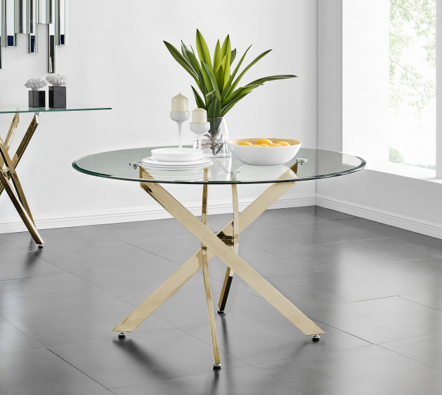Novara Gold Metal And Glass Large 120cm Round Dining Table