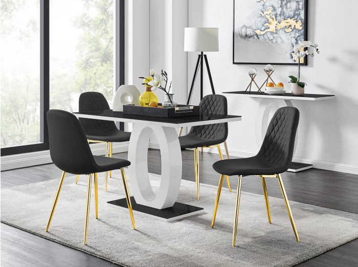 Giovani 4 Black Dining Table & 4 Corona Gold Leg Chairs