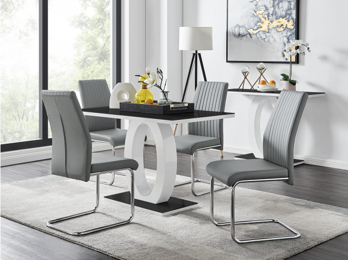 Giovani Black White High Gloss Glass Dining Table and 4 Lorenzo Chairs Set