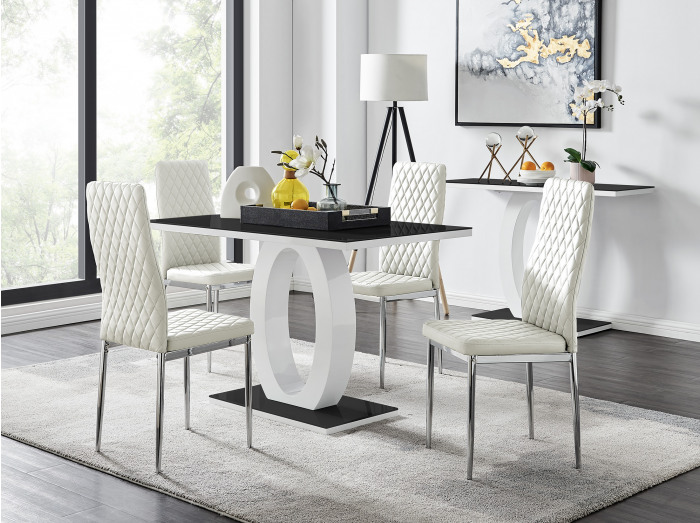Giovani Black White High Gloss Glass Dining Table and 4 Milan Chairs Set