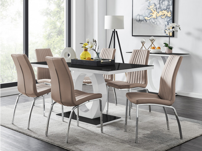 Giovani 6 Black Dining Table & 6 Isco Chairs