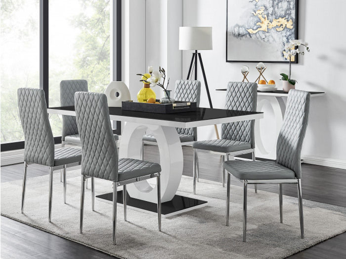 Giovani High Gloss And Glass Dining Table And 6 Milan Chairs Set