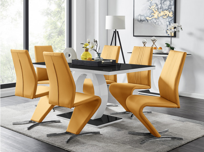 Giovani High Gloss And Glass Dining Table And 6 Willow Chairs Set