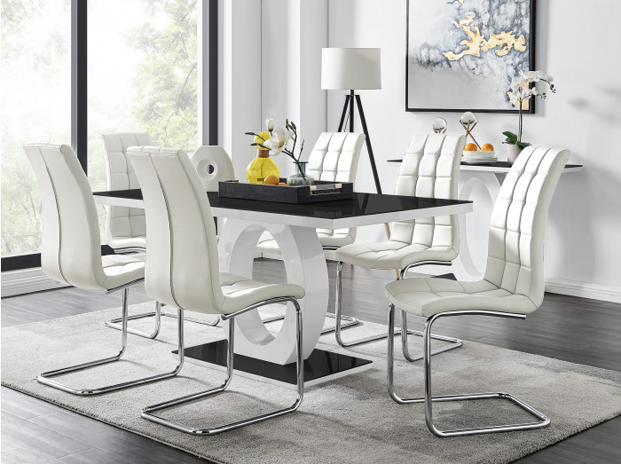 Giovani High Gloss And Glass Dining Table And 6 Murano Chairs Set
