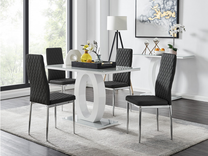 Giovani Grey White Modern High Gloss And Glass Dining Table And 4 Milan Chairs Set