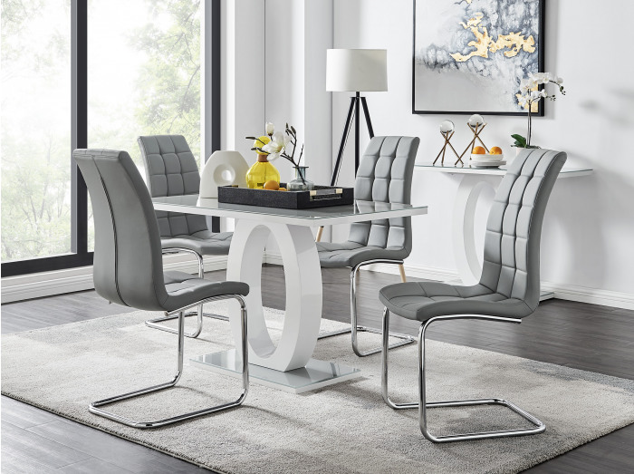 Giovani Grey White Modern High Gloss And Glass Dining Table And 4 Murano Chairs Set