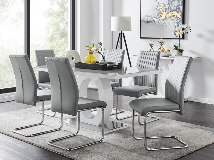 Giovani Grey White Modern High Gloss And Glass Dining Table And 6 Lorenzo Chairs Set
