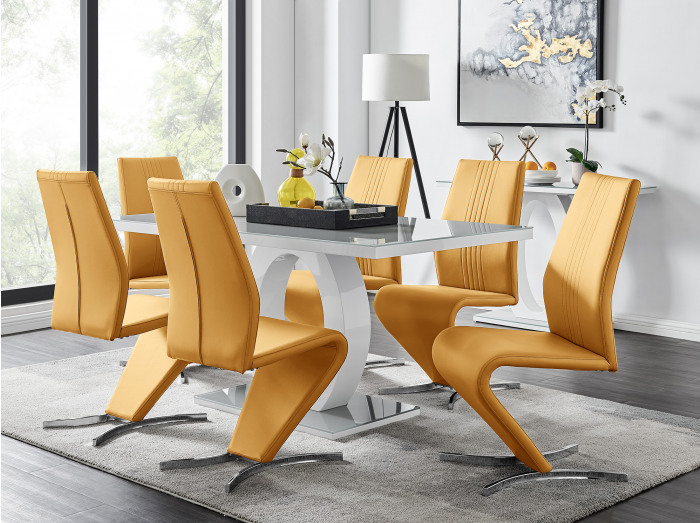 Giovani Grey White Modern High Gloss And Glass Dining Table And 6 Willow Chairs Set