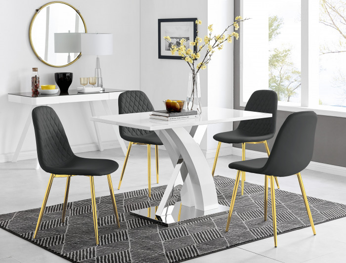 Atlanta White High Gloss And Chrome Metal Rectangle Dining Table And 4 Corona Gold Dining Chairs Set