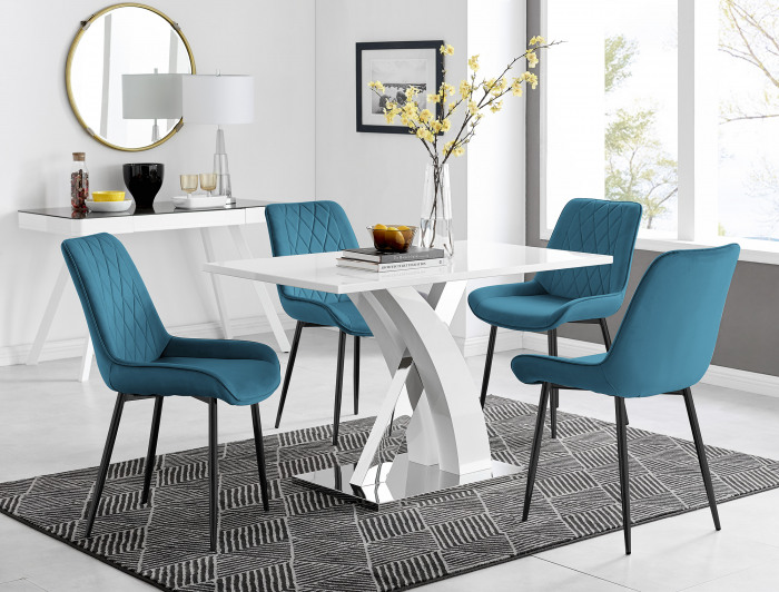 Atlanta 4 White Dining Table and 4 Pesaro Black Leg Chairs