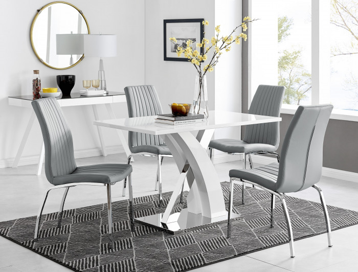 Atlanta White High Gloss And Chrome Metal Rectangle Dining Table And 4 Isco Dining Chairs Set