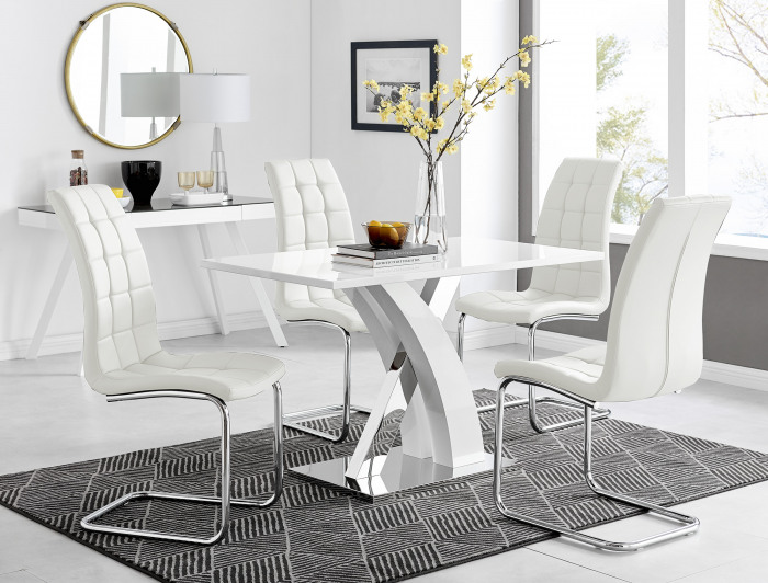 Atlanta White High Gloss And Chrome Metal Rectangle Dining Table And 4 Murano Dining Chairs Set