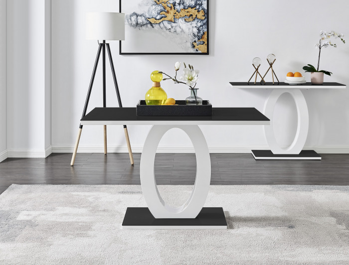 Giovani 4 Black White High Gloss Glass Dining Table