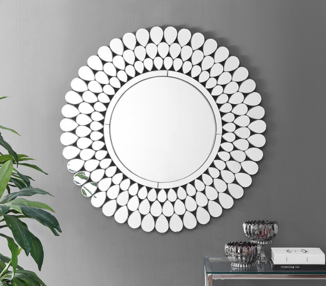 Cora Small or Large Silver Round Modern Mirror