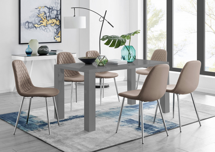 Pivero Grey High Gloss Dining Table And 6 Corona Silver Chairs Set