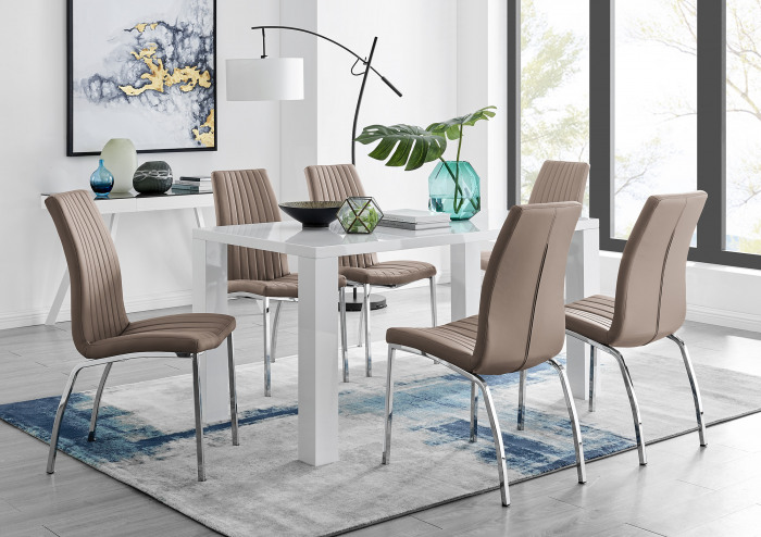 Pivero White High Gloss Dining Table And 6 Isco Chairs Set