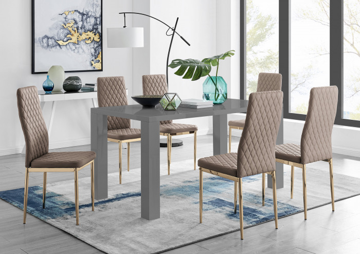 Pivero 6 Grey Dining Table and 6 Gold Leg Milan Chairs