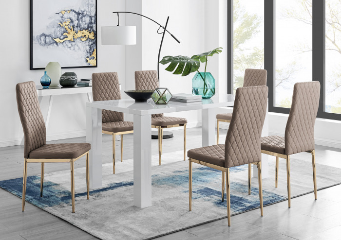 Pivero 6 White Dining Table and 6 Gold Leg Milan Chairs