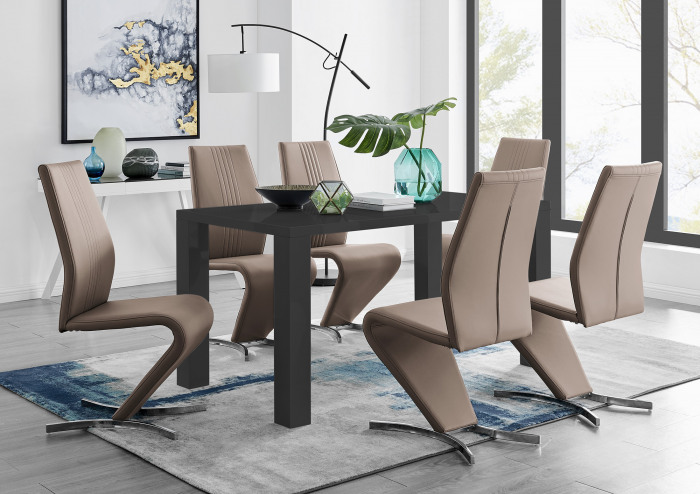 Pivero Black High Gloss Dining Table And 6 Willow Dining Chairs Set