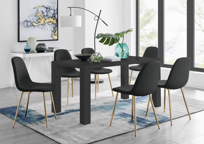 Pivero 6 Black Dining Table and 6 Corona Gold Leg Chairs