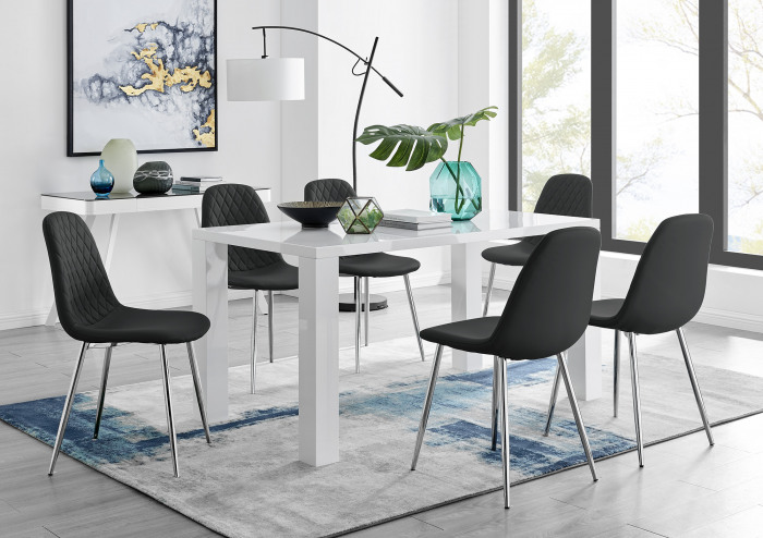 Pivero White High Gloss Dining Table And 6 Corona Silver Chairs Set