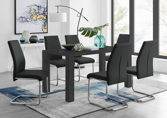 Pivero Black High Gloss Dining Table And 6 Lorenzo Dining Chairs Set