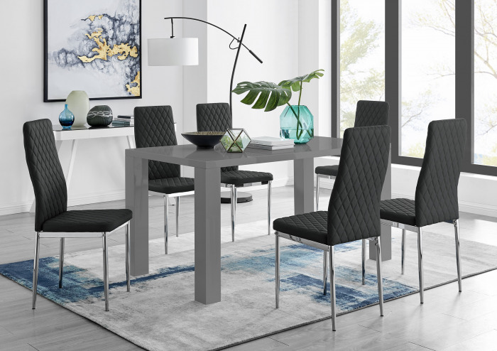Pivero Grey High Gloss Dining Table And 6 Modern Milan Chairs Set