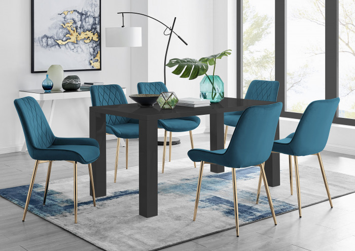 Pivero 6 Black Dining Table and 6 Pesaro Gold Leg Chairs