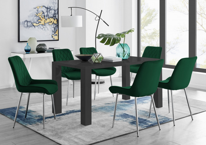 Pivero 6 Black Dining Table and 6 Pesaro Silver Leg Chairs
