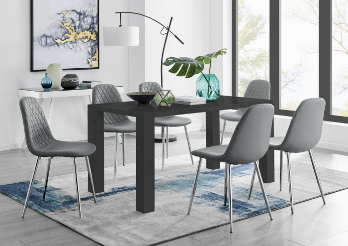 Pivero 6 Black Dining Table and 6 Corona Silver Leg Chairs
